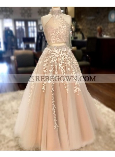 2021 New Arrival A Line Floor Length Tulle Champagne Two Pieces Long High Neck Prom Dresses