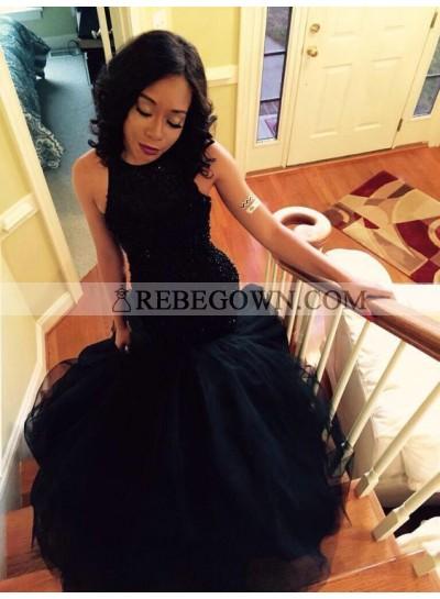 Amazing Black Mermaid  Ruffles Beaded Long African American Black Women's Prom Dresses 2021