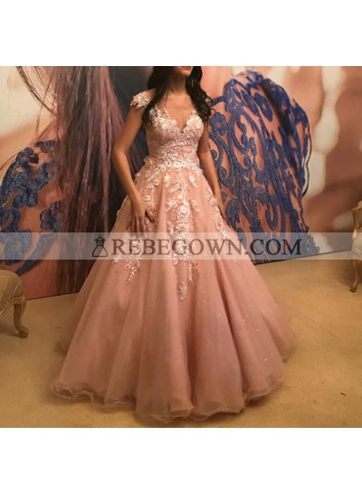 Elegant Dusty Rose Tulle Sweetheart Capped Sleeves Ball Gown Prom Dresses With Appliques