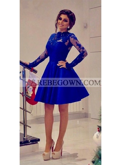Short Long Sleeves Royal Blue A Line Knee Length Prom Dresses