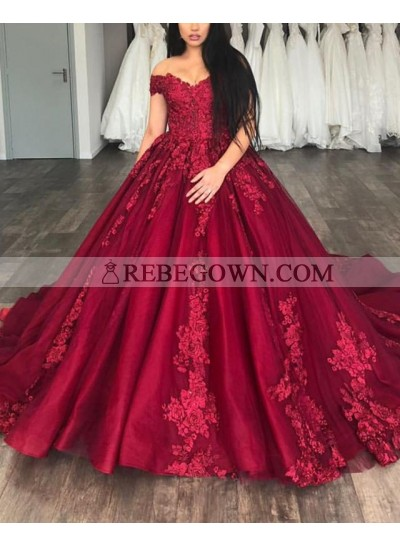 Long Burgundy Off Shoulder Sweetheart Lace Ball Gown Prom Dresses