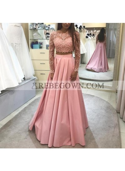 New Arrival A Line Satin Two Pieces Long Sleeves Long Pink Prom Dresses