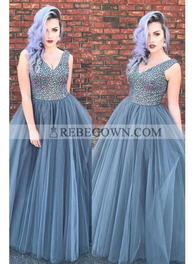 V Neck Gray Tulle Ball Gown Floor Length Beaded Prom Dresses