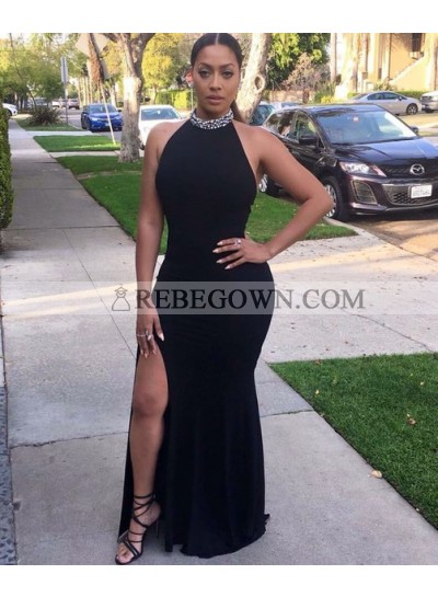 Sexy Black Side Slit Halter Backless Sheath Black Women's Prom Dresses 2021