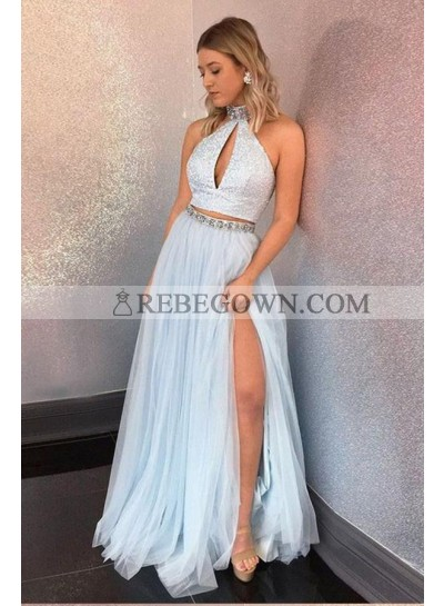 2021 New Arrival A Line Tulle Floor Length Two Pieces High Neck Light Sky Blue Prom Dresses