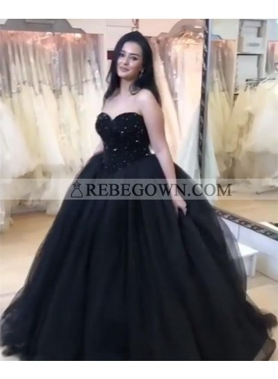 Amazing Sweetheart Black Tulle Lace Up Back Ball Gown Prom Dresses