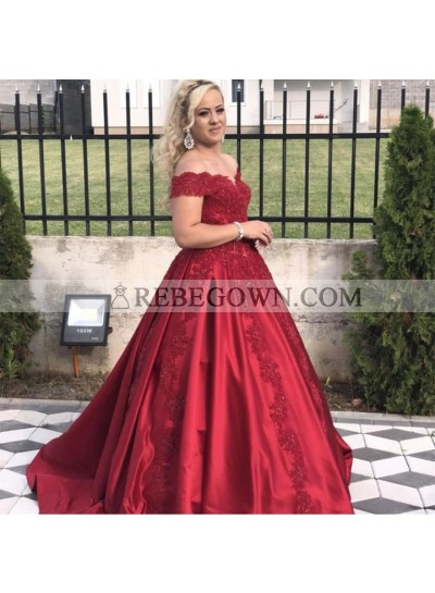 Newly Red Satin Off Shoulder Sweetheart Long Ball Gown Prom Dresses 2020