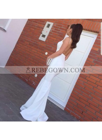 2020 Sexy White Mermaid  Backless Halter Long Black Women's Prom Dresses