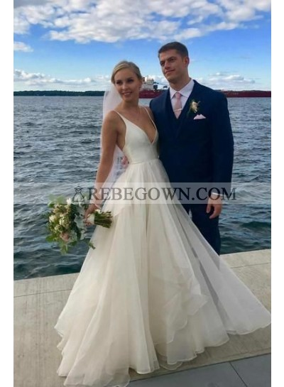 2020 New Arrival A Line Organza Deep V Neck Ivory Long Beach Wedding Dresses
