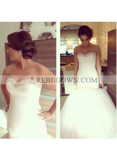 Sexy Sweetheart Beaded Tulle Mermaid  2021 Wedding Dresses