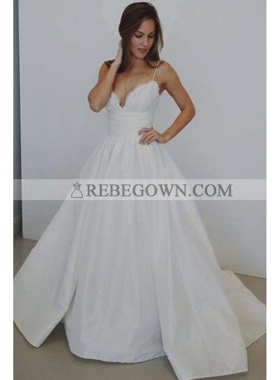 2021 Classic A Line White Sweetheart Spaghetti Straps Satin Long Wedding Dresses