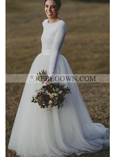 2021 New Arrival A Line Long Sleeves Tulle Wedding Dresses