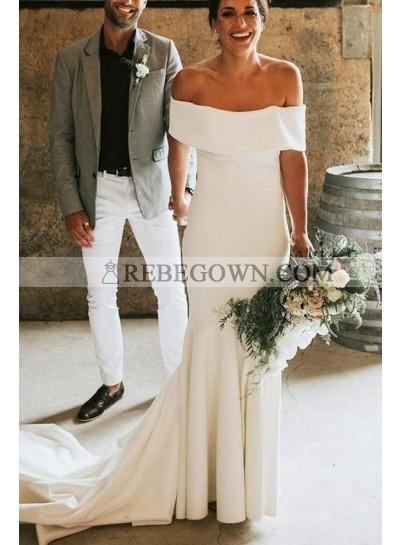 Charming Mermaid  Off Shoulder White Satin Wedding Dresses 2021