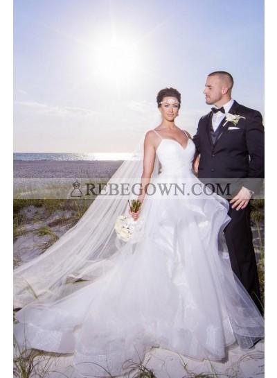 2021 A Line Organza Sweetheart Spaghetti Straps Layered White Wedding Dresses