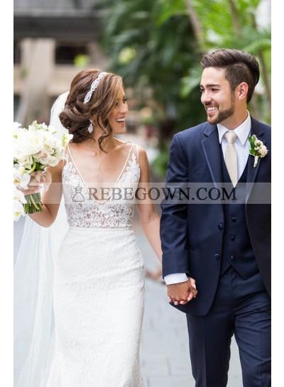 2021 New Arrival Sheath Deep V Neck Lace Sleeveless Long Wedding Dresses