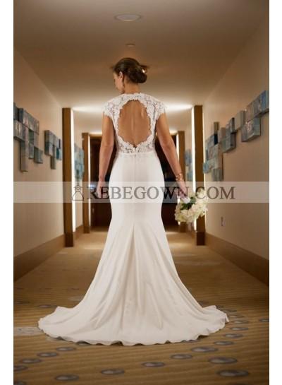 2021 Classic Sheath Elastic Satin Backless Lace Capped Sleeves Wedding Dresses