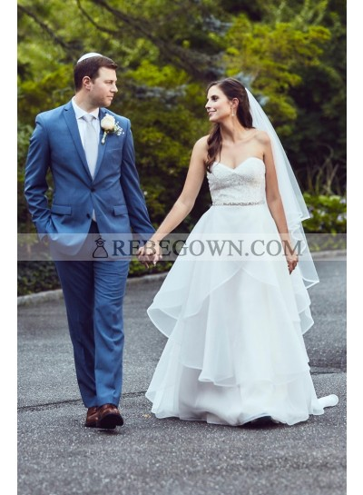 2021 New Arrival A Line Organza Sweetheart Beaded Layered Wedding Dresses