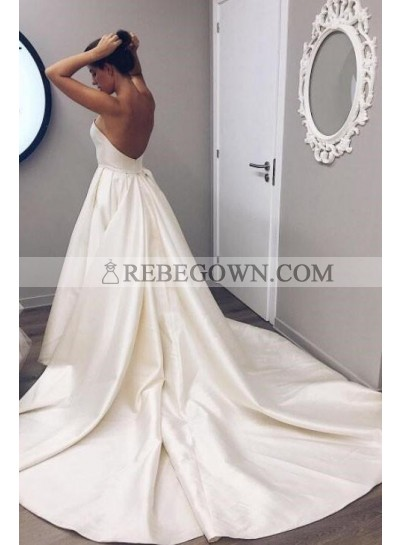 2021 Simple A Line Sweetheart Beige Satin Backless Long Wedding Dresses