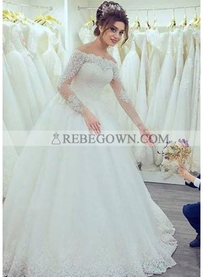 2021 New Arrival Off The Shoulder Long Sleeves Lace Ball Gown Wedding Dresses 2021WEDD-6379