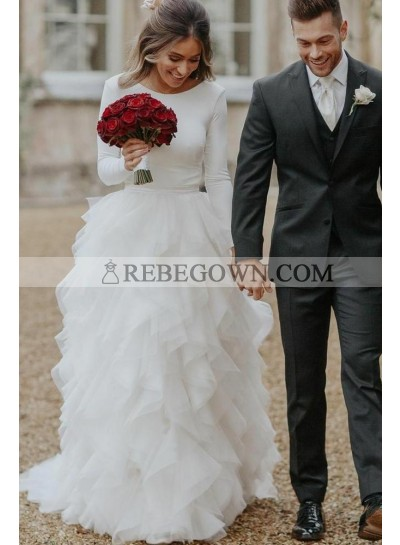2021 Elegant A Line Long Sleeves Crew Neck White Tulle Layered Pleated Backless Wedding Dresses