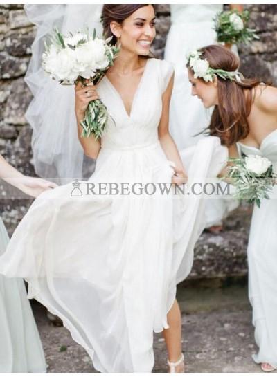 2021 Cheap V Neck A Line Chiffon Ivory Pleated Wedding Dresses