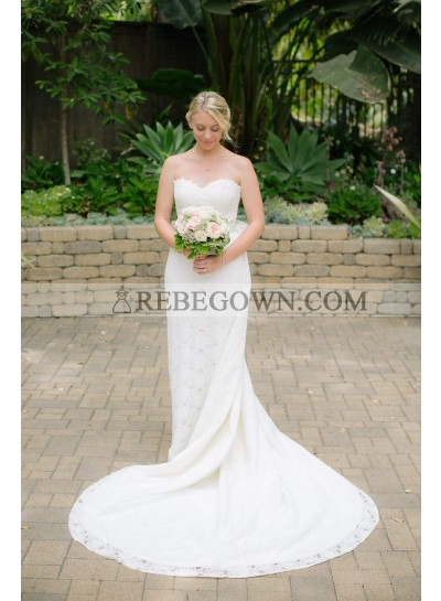 2021 New Arrival Sweetheart Sheath Long Lace Wedding Dresses Bowknot Back