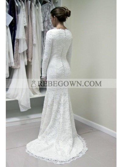 2021 New Arrival Long Sleeves Lace Sheath Back Zipper Buttons Crew Neck Wedding Dresses