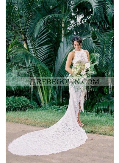 Charming Sheath Side Slit High Low Backless Lace Wedding Dresses 2021