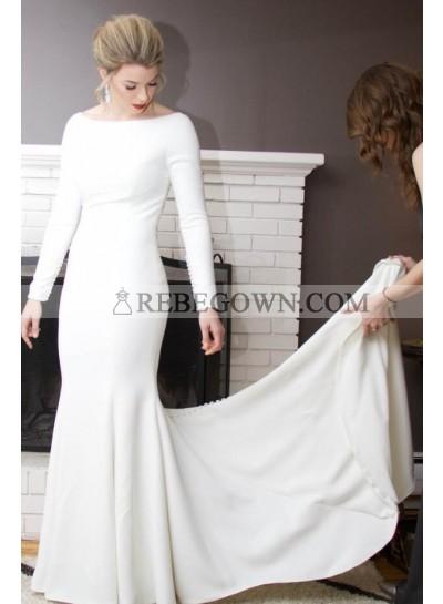 2018 Amazing Sheath Satin Ivory Crew Neck Long Sleeves Beaded Long Wedding Dresses