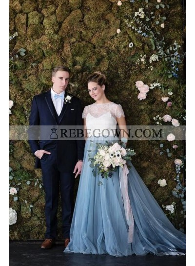 2021 New Arrival A Line Tulle White With Blue Capped Sleeves Lace Wedding Dresses