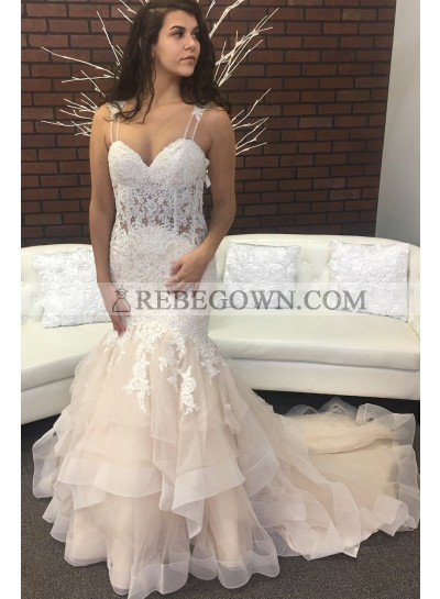 Sexy Mermaid  Tulle Sweetheart Lace Layered Champagne Wedding Dresses 2021
