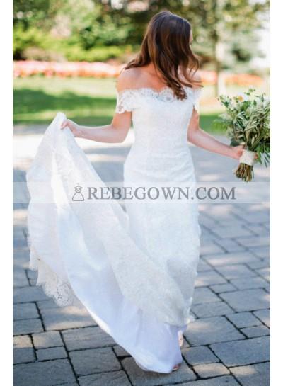 2021 Elegant Off Shoulder Long Train Ivory Lace Sheath Wedding Dresses