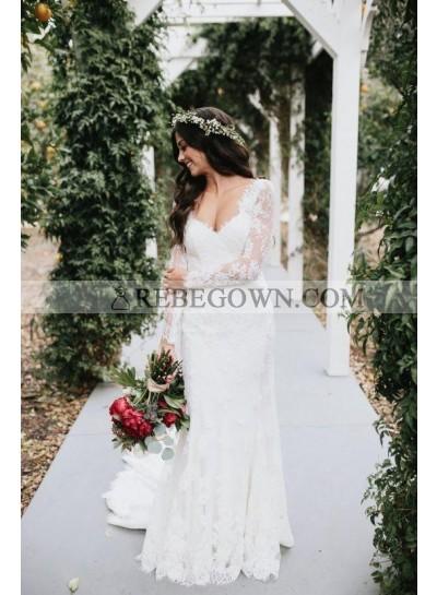 2021 Elegant Sheath Sweetheart Long Sleeves Backless Long Lace Wedding Dresses