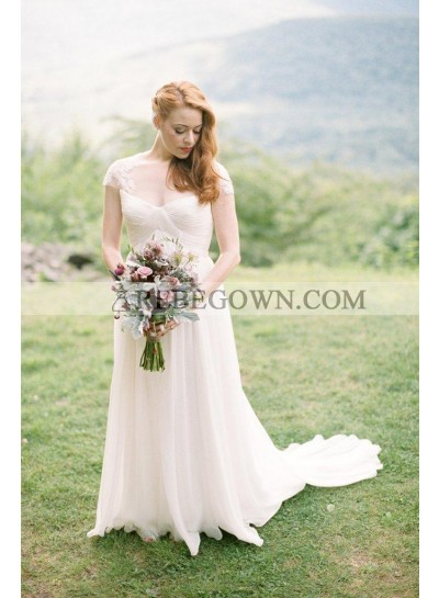 2021 Cheap A Line Chiffon Long Train Sweetheart Capped Sleeves Lace Wedding Dresses