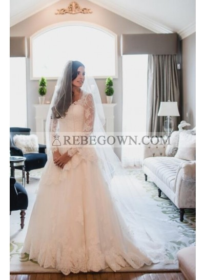 2021 Elegant A Line V Neck Lace Backless Long Sleeves Wedding Dresses