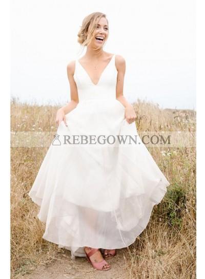 2021 Cheap A Line Deep V Neck Chiffon Backless Floor Length Wedding Dresses