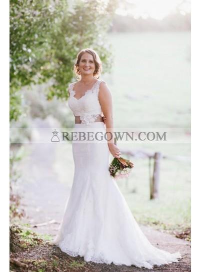 2021 Elegant Sweetheart Mermaid  White Lace Wedding Dresses With Belt