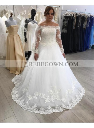 2021 White A Line Off Shoulder Lace Long Sleeves Plus Size Wedding Dresses