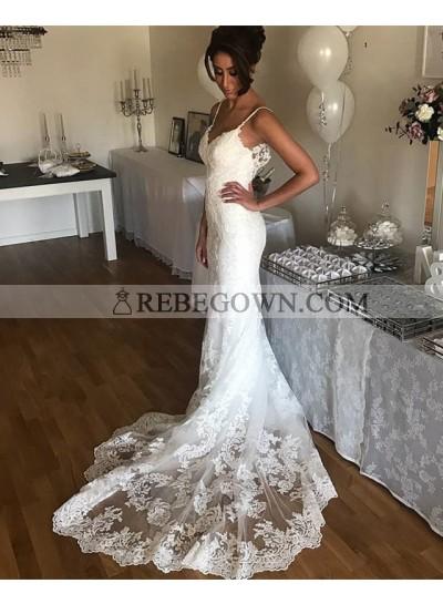 White Sheath Sweetheart Spaghetti Straps Long Lace Wedding Dresses 2021