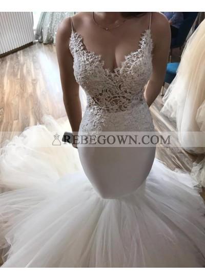 Sexy Mermaid  Sweetheart Spaghetti Straps Tulle Ivory Wedding Dresses 2021