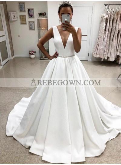 2021 A Line Elegant Deep V Neck White Satin Long Wedding Dresses