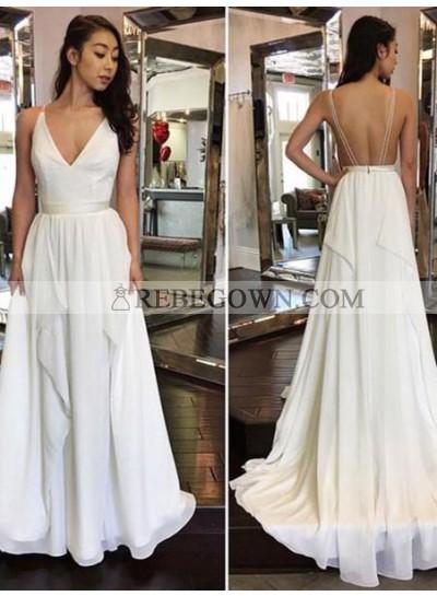 2021 Cheap A Line Chiffon Backless V Neck Wedding Dresses With Belt
