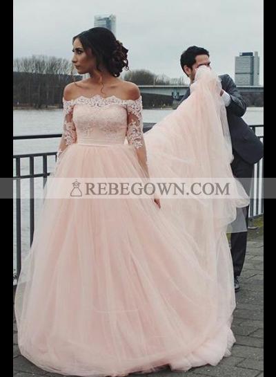 2021 Pink A Line Off Shoulder Long Sleeves Long Tulle Wedding Dresses