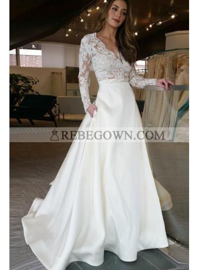 2021 Elegant Satin A Line Ivory V Neck Long Sleeves Wedding Dresses