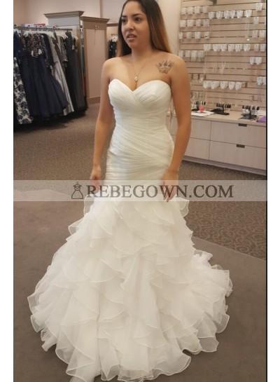 New Arrival Mermaid  Organza Sweetheart Ruffles Pleated Wedding Dresses 2021