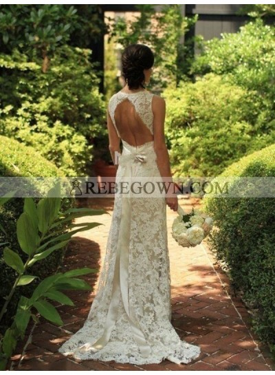 2021 Elegant Backless Sheath Sweetheart Bowknot Lace Wedding Dresses