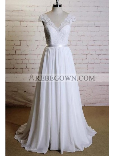 2021 Cheap A Line Chiffon Sweetheart Capped Sleeves Lace Beach Wedding Dresses