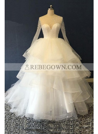 2021 New Designer Long Sleeves Tulle Ruffles Pearls Sweetheart Lace Up Back Ball Gown Wedding Dresses