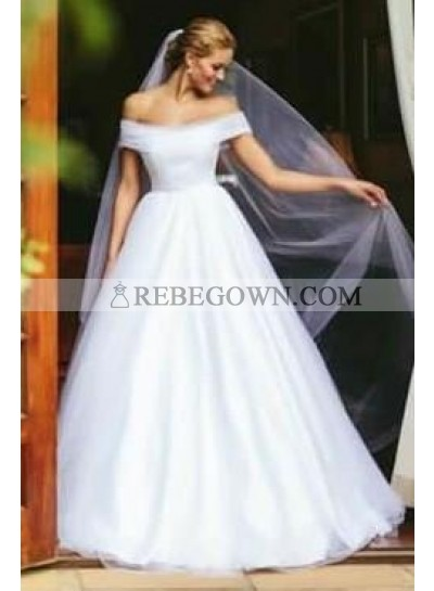 2021 Elegant A Line Off Shoulder White Tulle Long Wedding Dresses