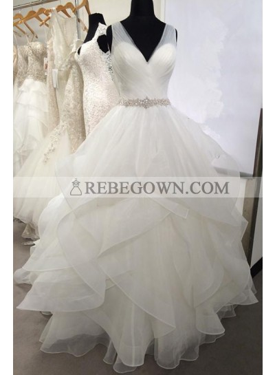 2021 New Arrival Sweetheart Organza Ruffles Backless Pleated Ball Gown Wedding Dresses